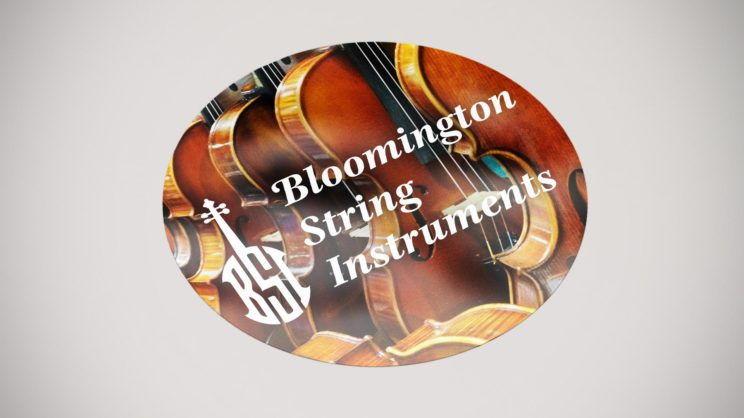 Letters BSI create shape of violin in Bloomington String Instruments logo
